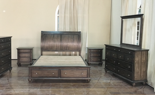 RUDEN   KING   5 PIECE  DRESSER  BEDROOM SUIT  (8221) BED WITH 2 FOOTEND DRAWERS  (MODEL - 7-5-15-18-7-9-1) -BURNISHED CHERRY