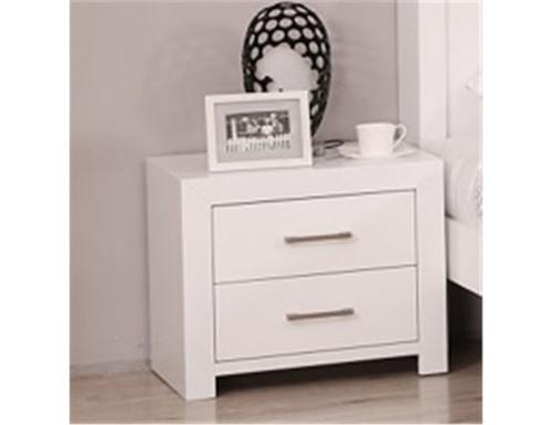 HESSY  2 DRAWERS BEDSIDE TABLE - (MODEL - 3-1-18-12-1) - HIGH GLOSS WHITE