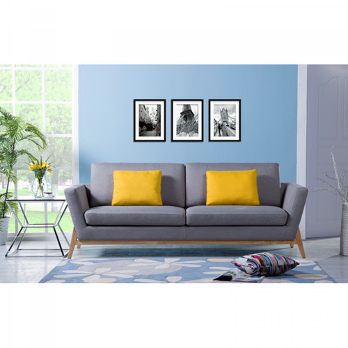 KENDRA 3 SEATER FABRIC SOFA  WITH CUSHIONS - LIGHT GREY