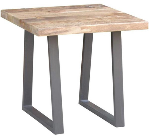 UNIQ ( UL-003) SOLID TIMBER/STEEL  SIDE TABLE  - NATURAL