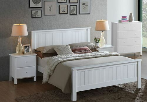 EMPRESS KING 4 PIECE HARDWOOD / MDF TALLBOY  BEDROOM SUITE (2-18-15-4-9-5) - WHITE