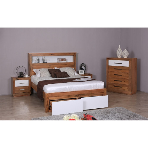 DESTINY  KING  HARDWOOD TIMBER 4 PIECE  TALLBOY  BEDROOM SUITE (8-1-12-5) - NATURAL / WHITE