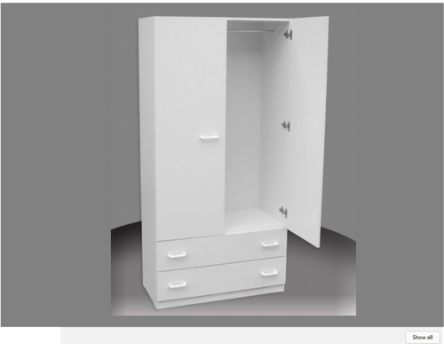 SUPERIOR FINISH 2FT CHILDS WARDROBE (CW24-D) 1 DOOR / 2 DRAWER (NOT AS PICTURED) WITH METAL RUNNERS -1800(H) X 600(W)  ASSORTED COLOURS AVAILABLE