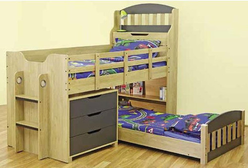 SINGLE TOBY CABIN / MIDI SLEEPER BUNK BED WITH 3 DRAWER CHEST & ROLL IN DESK - OAK / CHARCOAL