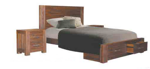 QUEEN EMILY ACACIA HARDWOOD BED WITH UNDERBED 2 STORAGE DRAWERS
