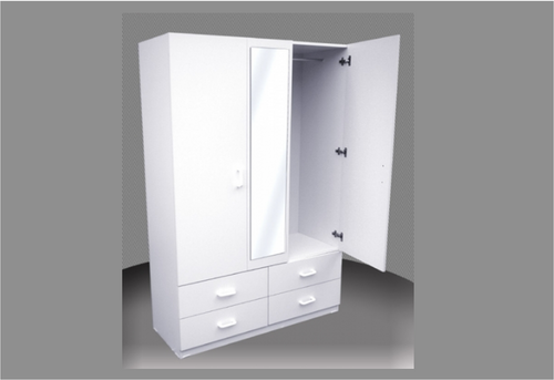 FAIRMONT SPECIAL 4FT CHILDS MIRRORED WARDROBE (CW48-DMIRR) - 4 DRAWERS WITH METAL RUNNERS -  1800(H) X 1200(W) -  ASSORTED COLOURS AVAILABLE