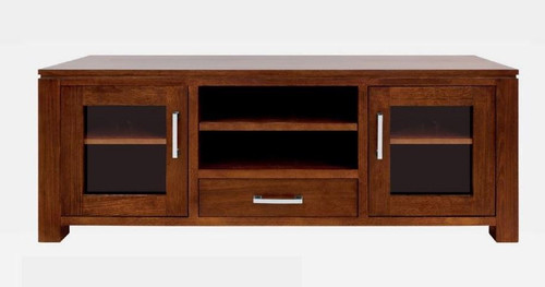 GRACE HARDWOOD TV UNIT  WITH 2 DOORS , 1 DRAWER , 2 NICHES - (19-15-6-9-1) - 1500(W)- BLACKWOOD OR WALNUT