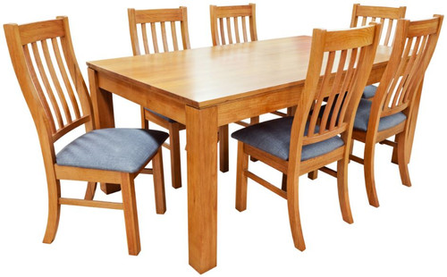 GRACE  9 PIECE  TASMANIAN OAK HARDWOOD DINING  SETTING 2100(W) X 1000(D) - (19-15-6-9-1)- BLACKWOOD OR WALNUT