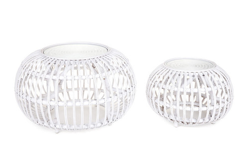 ROUND RATTAN POLE COFFEE TABLE & SIDE TABLE SET - 400(H) X 800(W) X 800(D) - WHITE