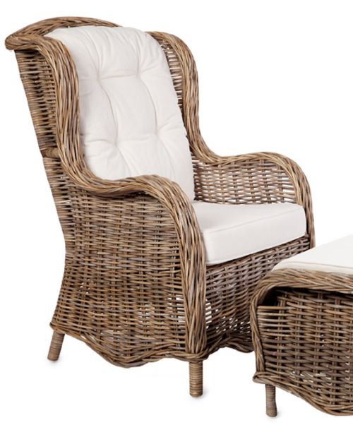 PRINCE ARMCHAIR WITH CUSHIONS RATTAN CHAIR - GREY