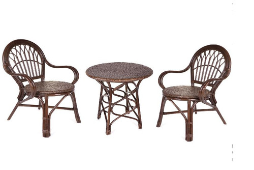 CAFE 3 PIECE TABLE SET   -  BROWN