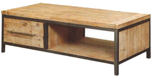 CEMBER  WITH DRAWER HARDWOOD COFFEE TABLE - 450(H)  X 1300(W X  700(D) -  ( 16-15-18-20-12-1-14-4)