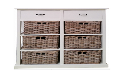 BENCER (DRT786V) STORAGE CHEST WITH 6 BASKETS & 2 WOODEN DRAWERS - KUBU GREY / WHITE