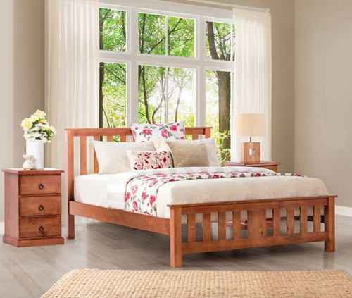 CARRINGTON KING 3 PIECE BEDSIDE BEDROOM SUITE WITH STANDARD CASE GOODS - GOLDEN OAK