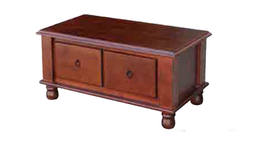 DEEONE  COFFE TABLE WITH TWO DRAWERS / TURNED  LEGS - 440(H) X 1150(W) X  630(D) - WALNUT OR BLACKWOOD