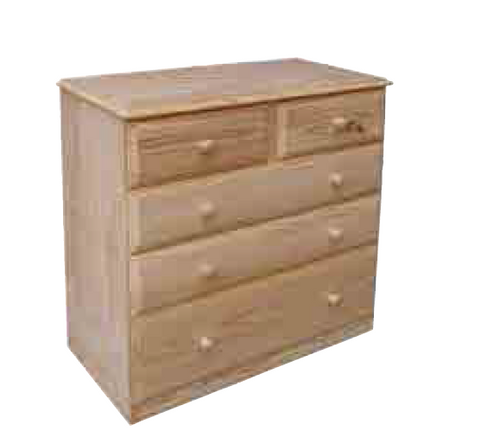 """36""""  5 DRAWERS TOP SPLIT  CHEST  1150(H) - 12"""" BOTTOM - STAINED"""