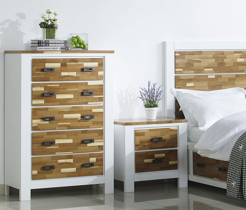 ARAN (613) TALLBOY WITH 5 DRAWERS (MODEL 1-18-9-1) - 2 TONED NATURE/WHITE