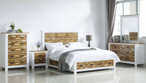 ARAN (613) KING 6 PIECE (THE LOT) BEDROOM SUITE WITH 4 UNDERBED DRAWERS (MODEL 1-18-9-1) - 2 TONED NATURE/WHITE
