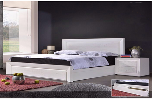 GEOLAND KING 3 PIECE  BEDSIDES BEDROOM SUITE WITH FOOTEND STORAGE DRAWER (MODEL 13-1-18-22-9-14) -WHITE