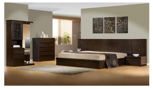 DALOON  KING 4 PIECE TALLBOY BEDROOM SUITE -  WITH SIDE STORAGE DRAWER (MODEL 4-1- 22-9-14-3-9) - WALNUT