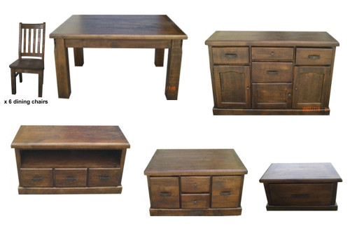 COBAR 11 PIECE LIVING AND DINING PACKAGE - ROUGH SAWED
