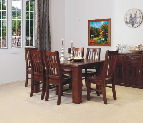 RUSTIC 11 PIECE DINING SUITE WITH 10 MATCHING CHAIRS NOT AS PICTURED