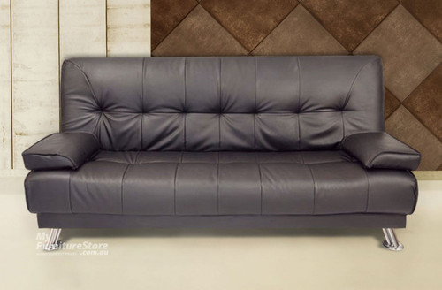 ROBYN CLICK CLACK LEATHERETTE SOFA BED SET (2 X 2 SEATER SOFA BEDS) - CHOCOLATE
