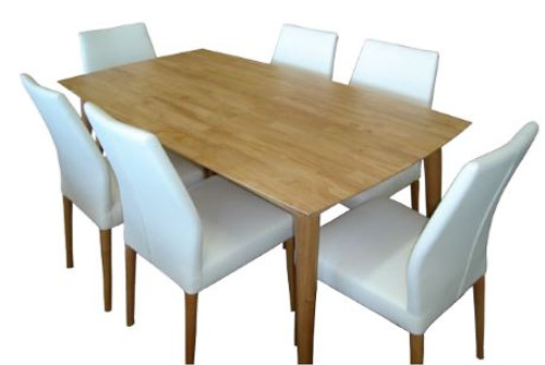 CONTEMPO 7 PIECE SETTING WITH DINING TABLE 1670(W) x 900(D) - BROWN OR RED FABRIC CHAIR