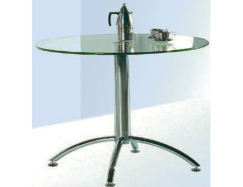 CASEY ROUND DINING TABLE - STAINLESS STEEL FRAME/CLEAR GLASS TOP