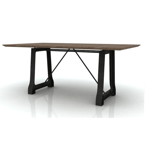 CABANA   HARDWOOD /METAL DINING TABLE  ONLY - 2100(W) x 1050(D) - MOCHA GREY / BRUSHED BLACK