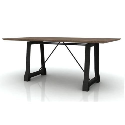 CABANA   2100(L) X 1000(W) HARDWOOD /METAL DINING TABLE  ONLY - MOCHA GREY / BRUSHED BLACK