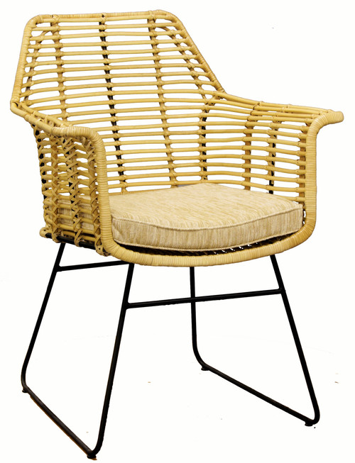 BILL CLASSICAL WOVEN RATTAN OCCASIONAL CHAIR WITH CUSHION - NATURAL
