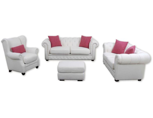 CHESTERFIELD 4 PIECE FABRIC - 3+2 SEATER, WING CHAIR & STOOL - NATURAL