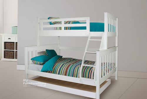 AWESOME (MODEL 6-15-18-20-5) TRIO BUNK BED WITH MATCHING SINGLE BUDGET TRUNDLE BED - ARCTIC WHITE