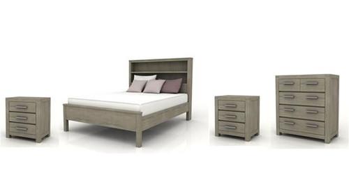KENDALL  KING  4 PIECE TALLBOY  BEDROOM SUITE (BOOKCASE BED)  - BRUSHED LIGHT GREY