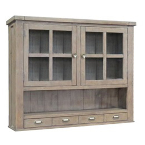 CANYONLEIGH HUTCH 4 DRAWER 2 DOOR  - RECYCLED PINE - WEATHERED GREY