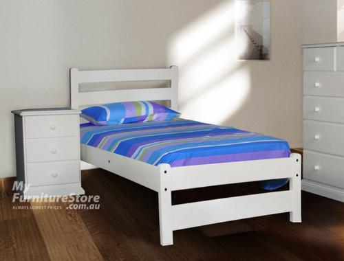 KING SINGLE DELUXE HAMILTON BED - WHITE, ANTIQUE WHITE, WHITEWASH & BRUSHED COLOUR OPTIONS