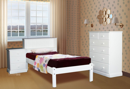 KING SINGLE BOOKEND DELUXE BED - WHITE, ANTIQUE WHITE, WHITEWASH & BRUSHED COLOUR OPTIONS