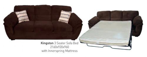 KINGSTON 3 SEATER SOFA BED - DARK BROWN