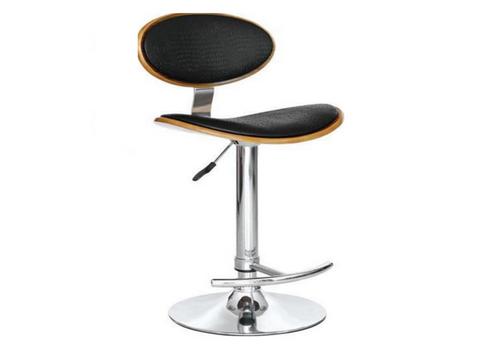 LOKO LEATHERETTE BAR CHAIR / BARSTOOL (VJY-1009) - SEAT: 645 - 865(H)  BLACK / WALNUT