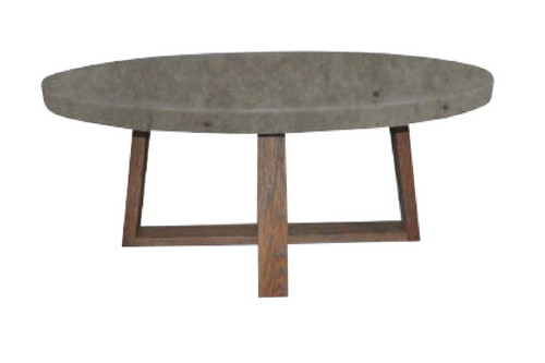 COPACABANA OVAL COFFEE TABLE - 420(H) x 1200(W) x 650(D) - CONCRETE TOP