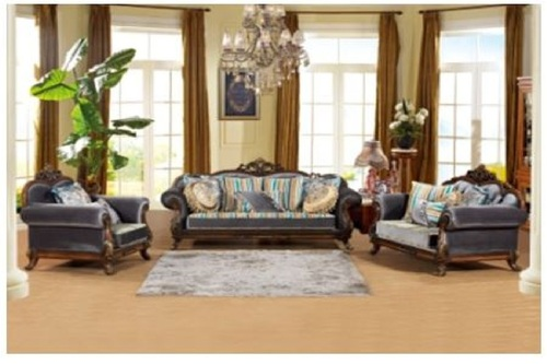 CLARISSON SOFA FABRIC LOUNGE SUITE 3+2+1 - AS PICTURED