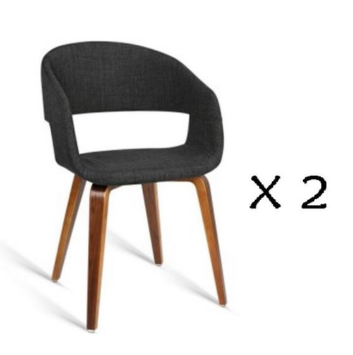 ABBIE SET OF 2 FABRIC UPHOLSTERED CHAIR  - CHARCOAL