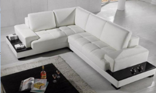 DREWMOND LEATHERETTE 3 SEATER + LHS/RHS CHAISE WITH BOOKCASE - WHITE