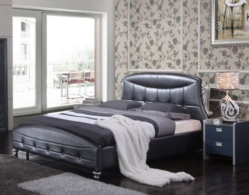 QUEEN SANFER LEATHER  BED  (MODEL-A03) - ASSORTED COLOURS