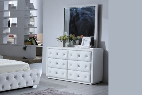 BETHANY (9391) DRESSER WITH MIRROR BLACK LEGS -  1540(H) X 1200(W) -WHITE