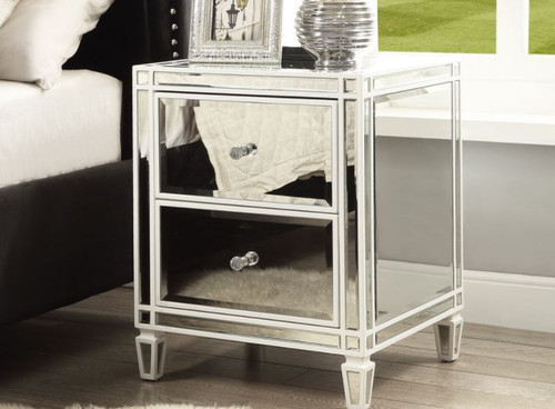 ELLAVEST (686) 2 DRAWER MIRRORED BEDSIDE TABLE -  WHITE WOOD FRAME