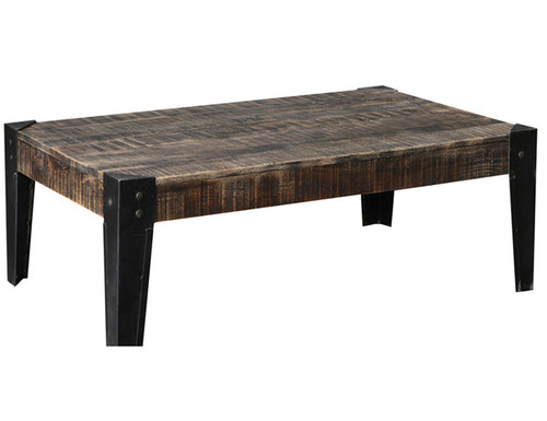 CITY LIVING 1200 COFFEE TABLE - 415(H) X 1205(W) X 755(D) - BLACK DISTRESSED