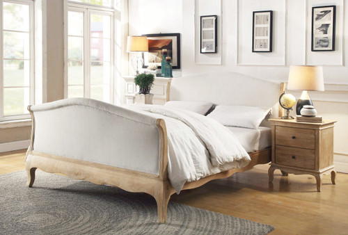 QUEEN SAMFORD SOLID OAK FABRIC UPHOLSTERED BED WITH HIGH BED END - LIME WIRE FINISH