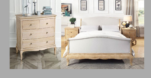 SAMFORD  QUEEN SOLID OAK FABRIC 4  PIECE  TALLBOY  BEDROOM SUITE (707) - LIME WIRE FINISH